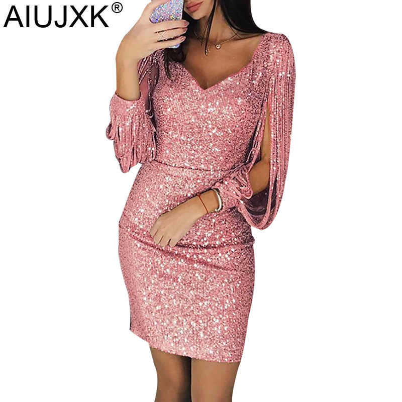 9da6de83e5 AIUJXK 2019 Spring Summer Women Sexy Bodycon Dress Instahot V Neck Tassel  Elegant Sequined Party Mini