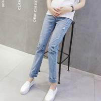 Maternity Jeans 2019 New Pregnant Woman Loose Pencil Pants Maternity Elastic Waist Denim Trousers Pregnancy Clothes Ropa Premama