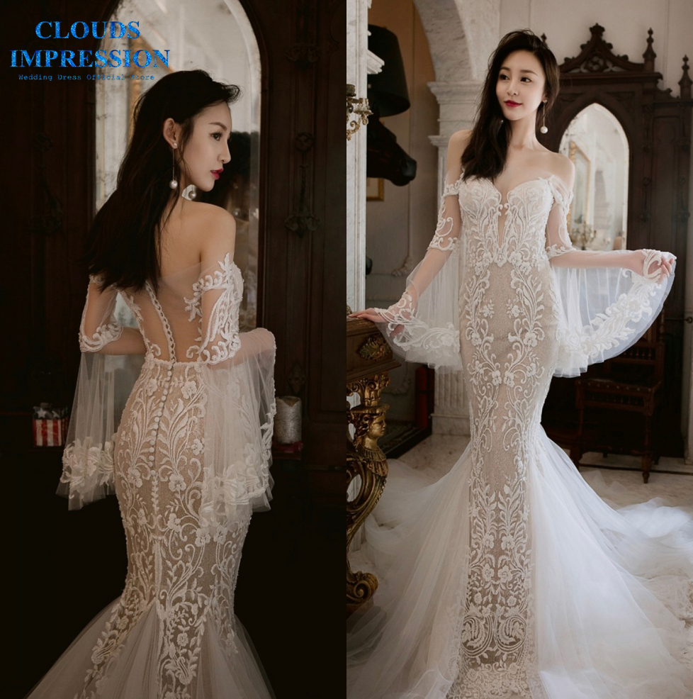 CLOUDS IMPRESSION Sexy Backless Illusion Mermaid Wedding Dress 2019 Lace Bridal Gowns Tulle Dress Vestige De