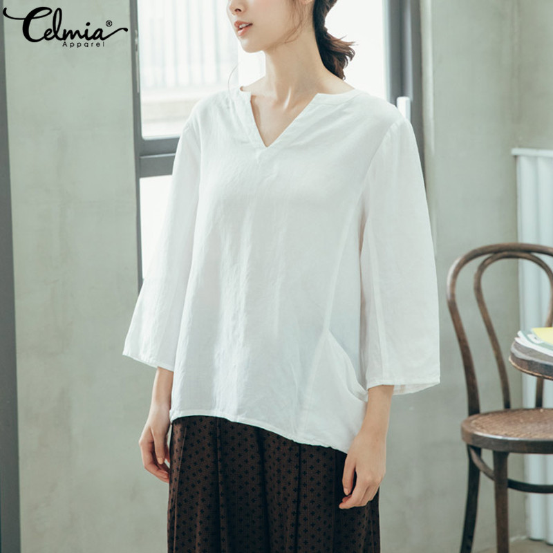 Women's Clothing Celmia Oversized Women Vintage Linen Blouse Sexy V Neck 3/4 Sleeve Solid Ladies Tops Casual Shirts Pockets Loose Blusas Feminina Diversified Latest Designs