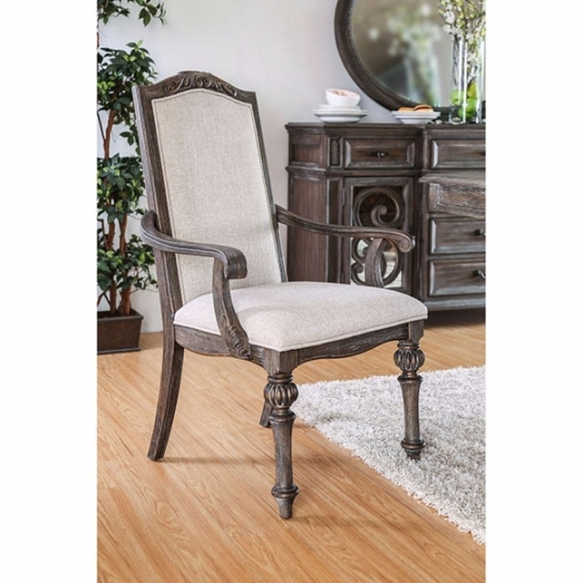 Wooden Arm Chair with Ivory Fabric Cushion Seat back