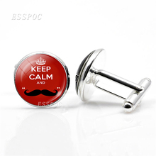 Keep Calm Quotes Men Women Jewelry Glass Cabochon Hook Earrings Badge Brooch Pins Graduation Gift Party Cufflinks