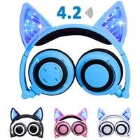 220mAh Bluetooth Stereo Cat Ear Headphones Flashing Glowing Cat Ear Headphones Gaming Headset Earphone LED light with Battery