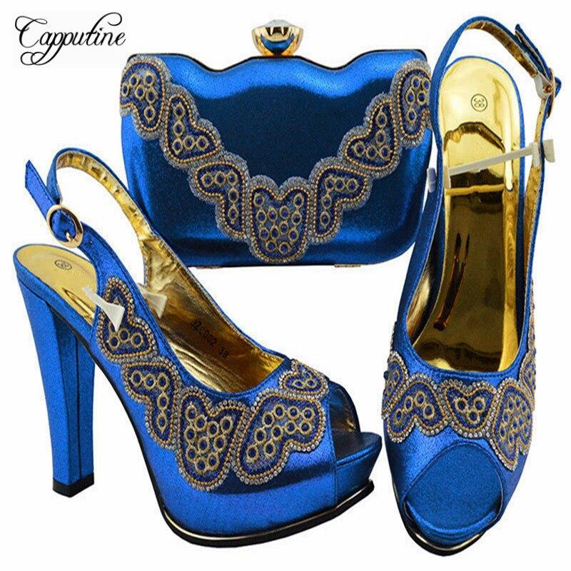 Strass Borsa argento Per E Set Decorato Con Il Blue colore rosso Partito Zc002 Giallo Nigeriano Donne Royal Tacchi Africano Alti Elegante Scarpe peach verde BYxnX