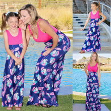 Mother Daughter Matching Clothes Mother and Daughter Floral Long Dress Matching Women Girls Casual Family Clothes Sleeveless new 2018 designer summer mother and daughter dress women sleeveless luxury crystal beading floral print casual mini short dress