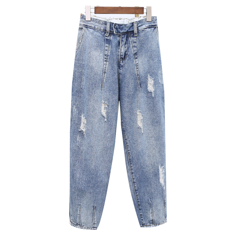 Spring Summer Women Jeans Pants High Waisted Jeans Solid Ladies Casual Ripped Hole Harem Denim Pants Vaqueros Mujer Plus Size in Jeans from Women 39 s Clothing