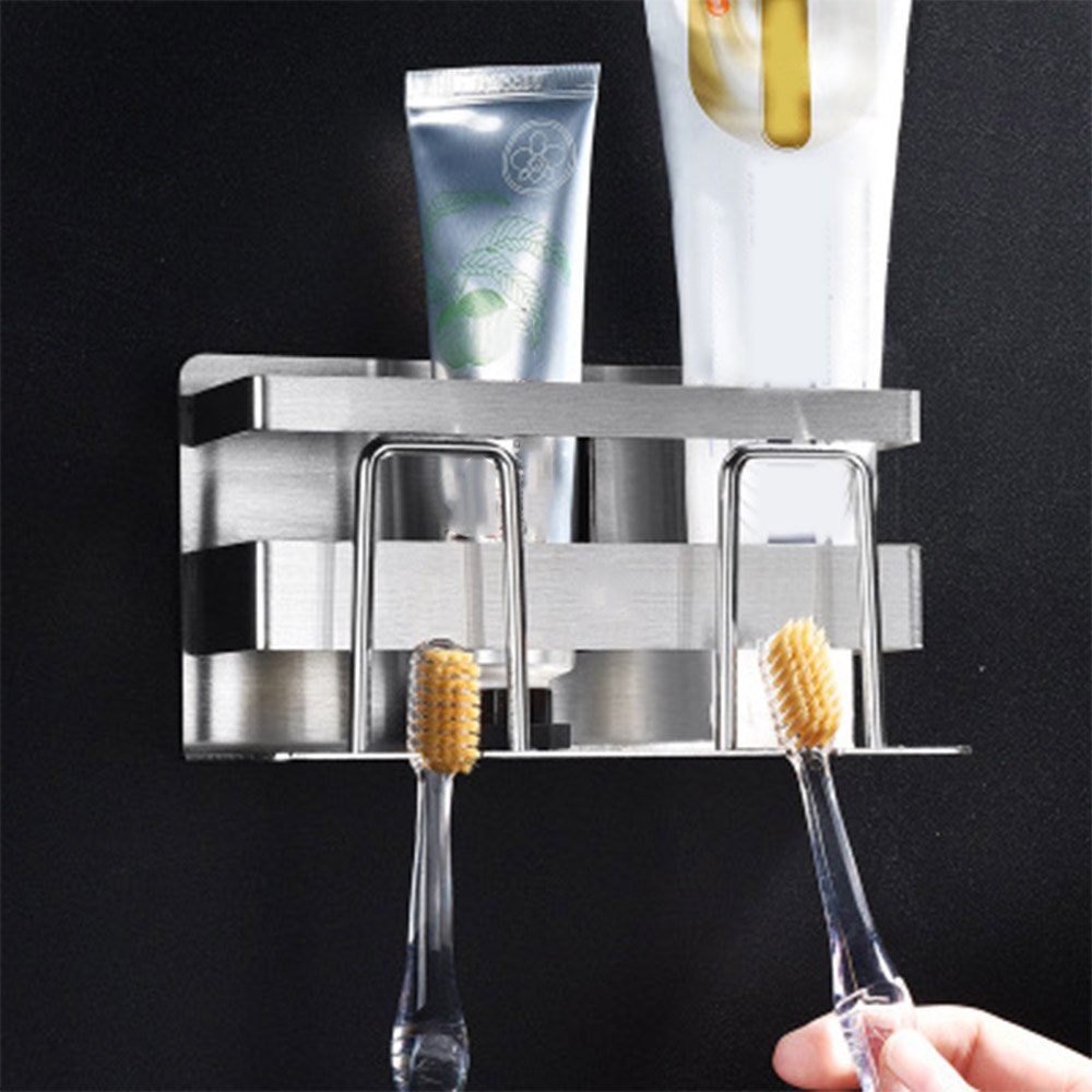 High Quality Stainless Steel Toothpaste Bathroom Holds Wall Mount Toothbrush Stand Holder Punch Free Suction Wall Brush in Storage Shelves Racks from Home Garden