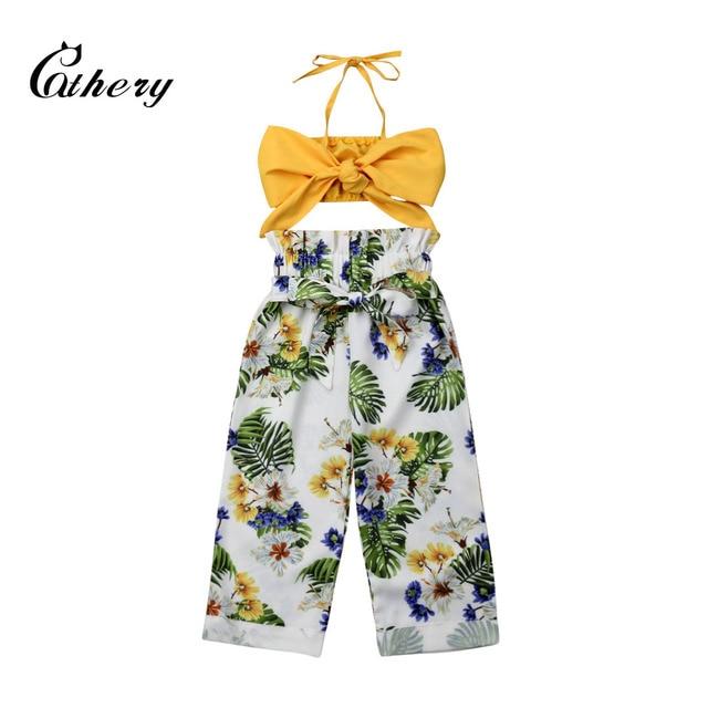 Arrivels החדש תינוקת פרחוני בגדי קיץ עטוף טי + רחב מכנסיים ילדים בנות מזדמן חוף תלבושות 1-5Yrs