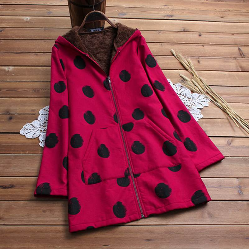 Winter Women Polka Dot Printed Warm Fleece Coat Female Long Sleeve Hooded Outerwear Vintage Plus Size Zipper Top Fluffy Jacktet