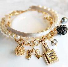 a7ca8d2a05d2 2018 nueva moda caliente botellas de Perfume decorativas de cuero perla  simulada arco encanto cuentas pulseras brazaletes para l.