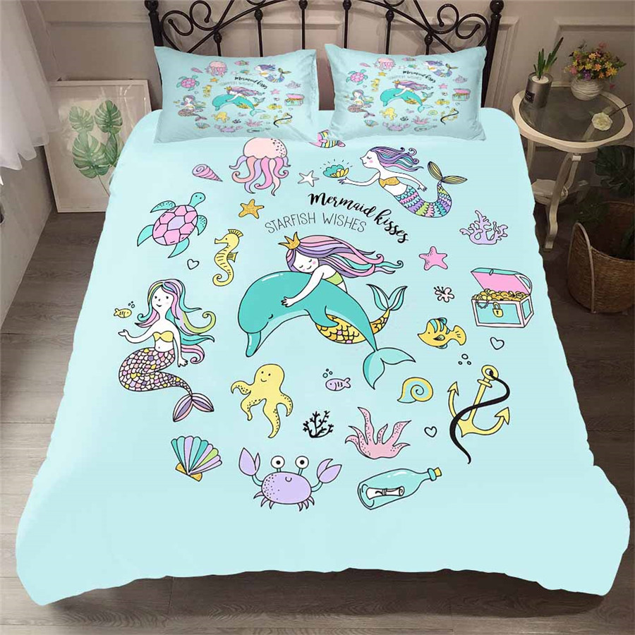 Bedding Set 3D Printed Duvet Cover Bed Set Sea Mermaid Home Textiles For Adults Lifelike Bedclothes With Pillowcase #MRY06(China)