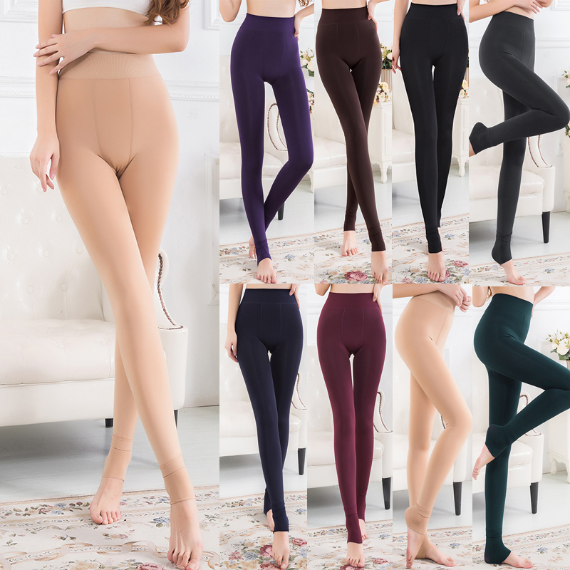 Women Fleece Lined Leggings High Waist Thicken Faux Velvet Leggings Pants Slim Solid Warm Pants Winter Thermo Leggins Woman