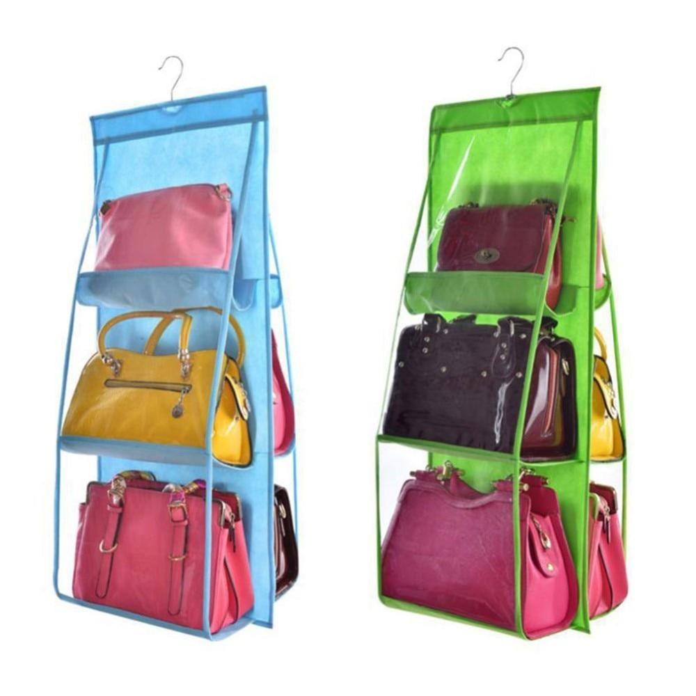 6 Pocket Hanging Handbag Organizer for Bag Collect Wardrobe Closet Dustproof Storage Bag Door Wall Sundry Shoe Bag with hook up