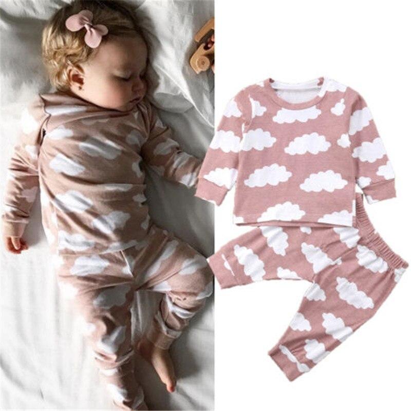 0-24 M Neue Geboren Baby Kleidung 2 Pc/se Rosa Cloud Print Langarm Pyjamas Kleidung Set Kleinkind Baby Jungen Mädchen Nachtwäsche Outfits Dauerhaft Im Einsatz
