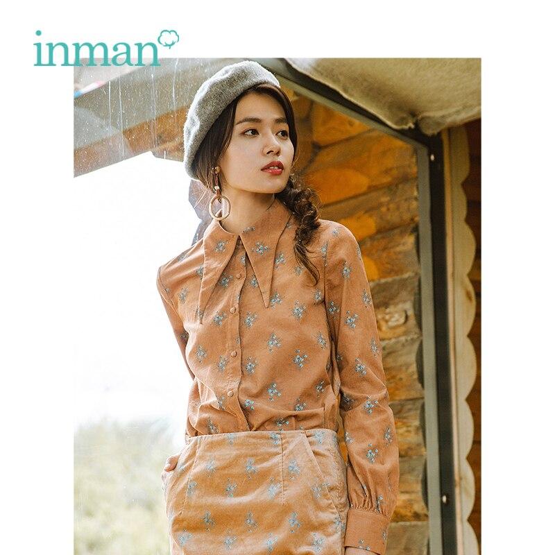 INMAN Winter New Arrival Turn Down Collar Embroidery Retro Artistic Flower Pattern Women Winter Blouse Shirt