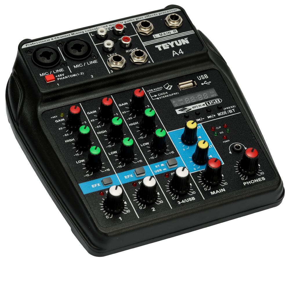 Tragbare A4 Sound Mischpult Audio Mixer Bluetooth Rekord 48 V Phantom Power Effekte 4 Kanäle Audio Mixer Mit Usb Unterhaltungselektronik