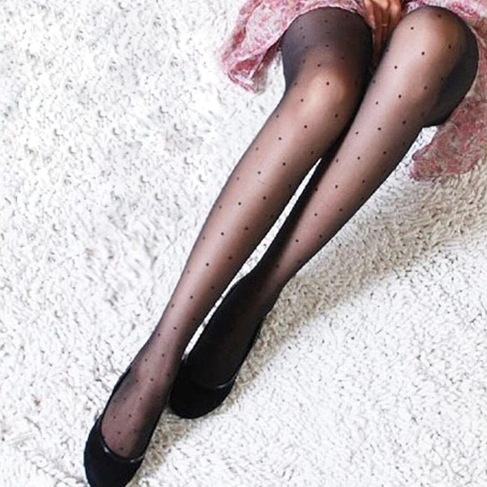 1 пара, женские сексуальные тонкие колготки, дамские Чулки вечерние женские Чулочные изделия в горошек, шелковые чулки, колготки, большие размеры