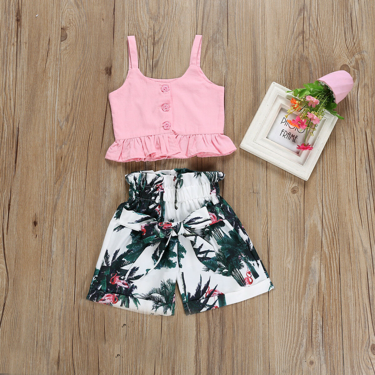Baby Girls Summer Sling Top Shorts Flower Pants Suit Outfits Set Summer Clothes