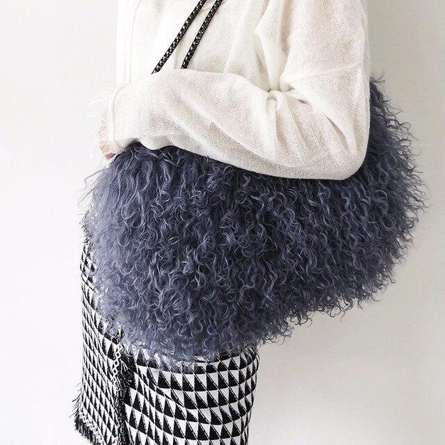 2018 new winter Tibet sheep fur women s handbag memory fabric lady s tote  bag lamb fur female shoulder bag b60badd3da