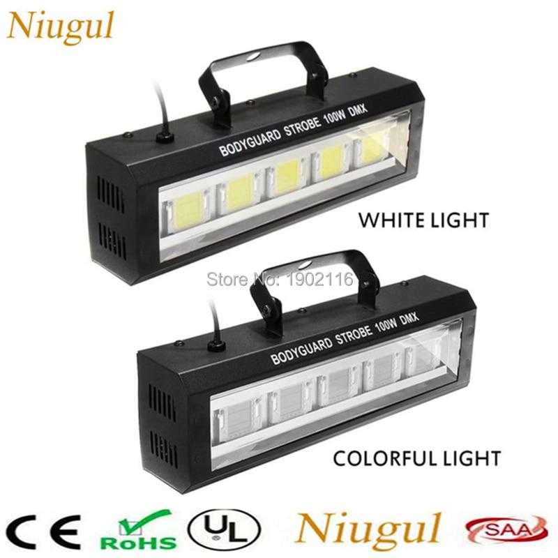 Adjustable Speed/auto/sound Control Colorful/white 100w Strobe Light 100w Led Ktv Disco Dj Flashing Stage Lights Led Stroboscope Commercial Lighting