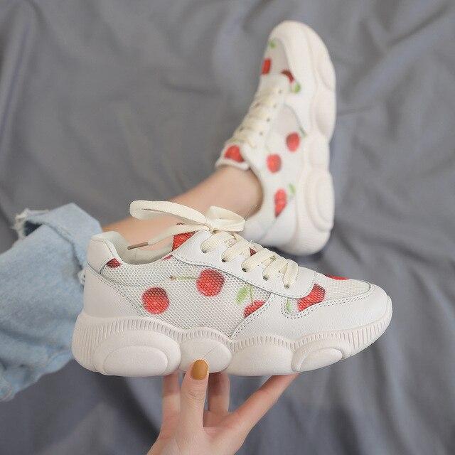 SWONCO zapatos de mujer Zapatillas deporte primavera 2019 Cherry zapatillas plataforma blanco nuevos casuales para las mujeres malla transpirable