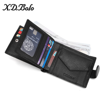 X.D.BOLO Leather Wallet Mens Credit Card Holder Genuine Leather Purse for Men Wallet with Coin Pocket