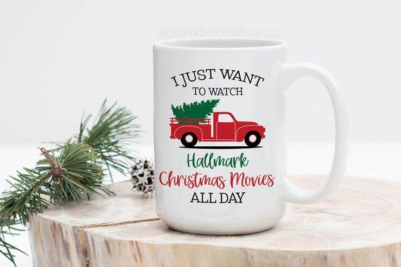 Divertida camioneta roja Merry Christmas árbol taza para café de cerámica, sólo quiero ver películas de Navidad Hallmark todo el día, regalo de vacaciones
