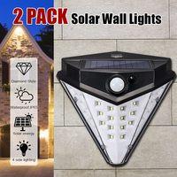 2pcs Mising 32LED Solar Lamp Wall Light Motion Sensors Super Bright 4 Side Lights Waterproof IP65 Durable Outdoor Solar Lamps