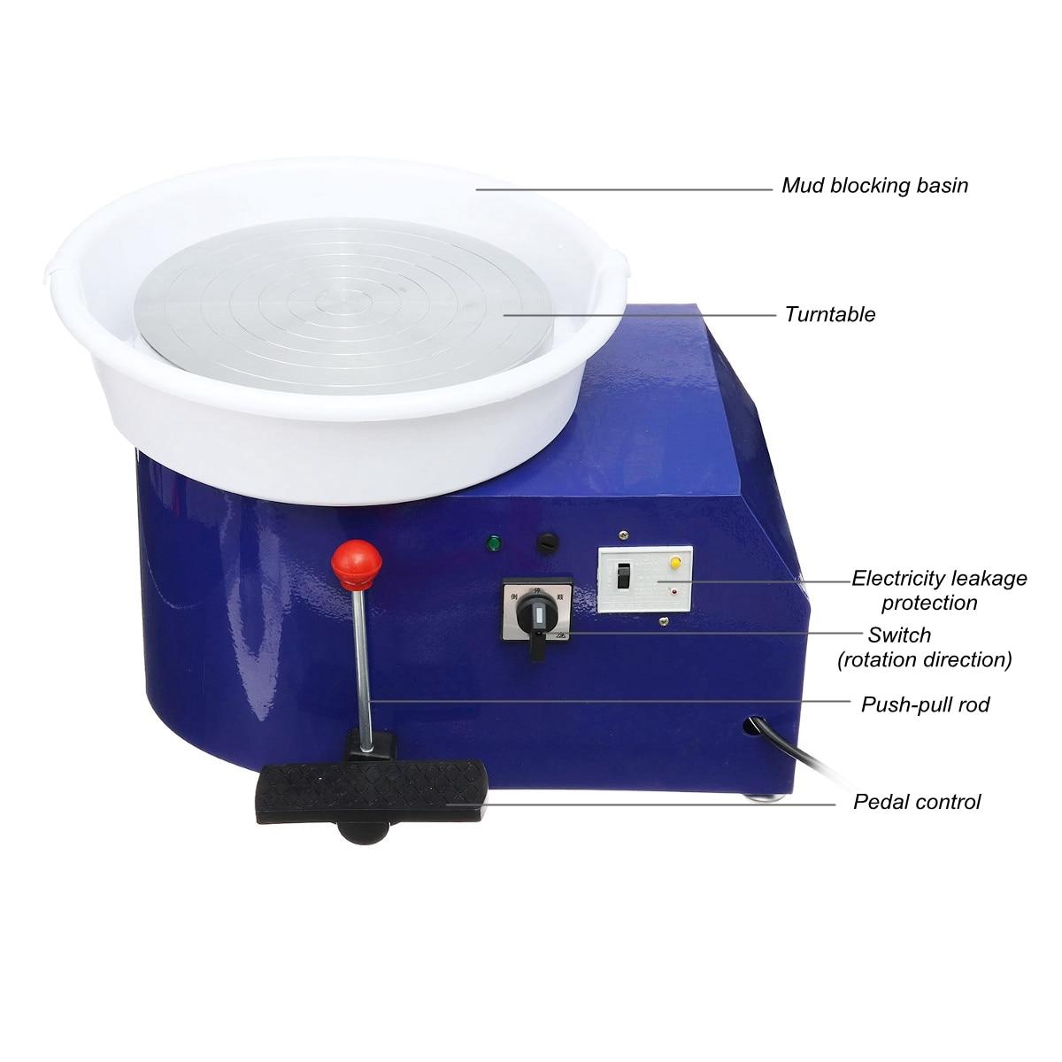 Tournant la Machine en céramique de roue de poterie électrique 220 V 550 W 300mm Kit de potier d'argile en céramique pour la Machine d'apprentissage en céramique de travail en céramique - 5