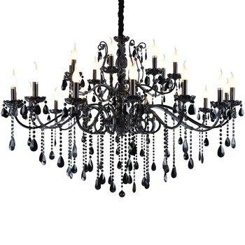 Home Large Vintage Black Chandelier for bedroom crystal lamps Living Room led candle Lustre  light Cafe Bar chandeliers lighting