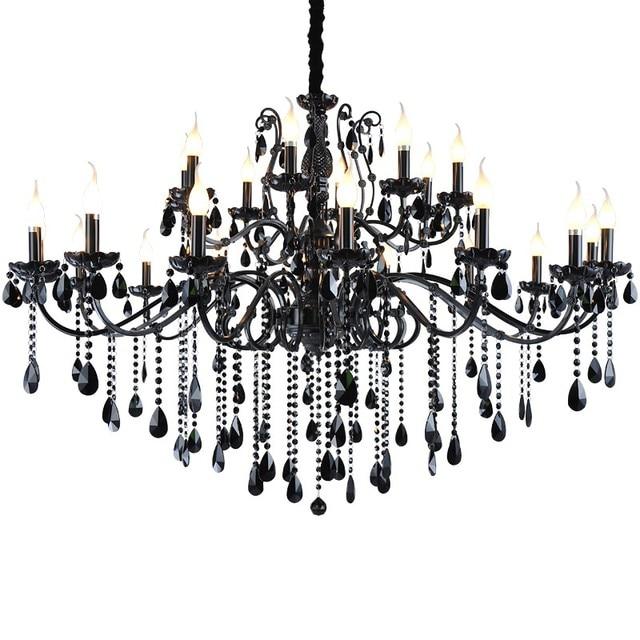 Home Large Vintage Black Chandelier for bedroom crystal lamps Living ...