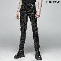 Punk Rock classic Motorcycle bandage button decoration Trousers Gothic Black Glossy Patent leather Men Pants PUNK RAVE K 367