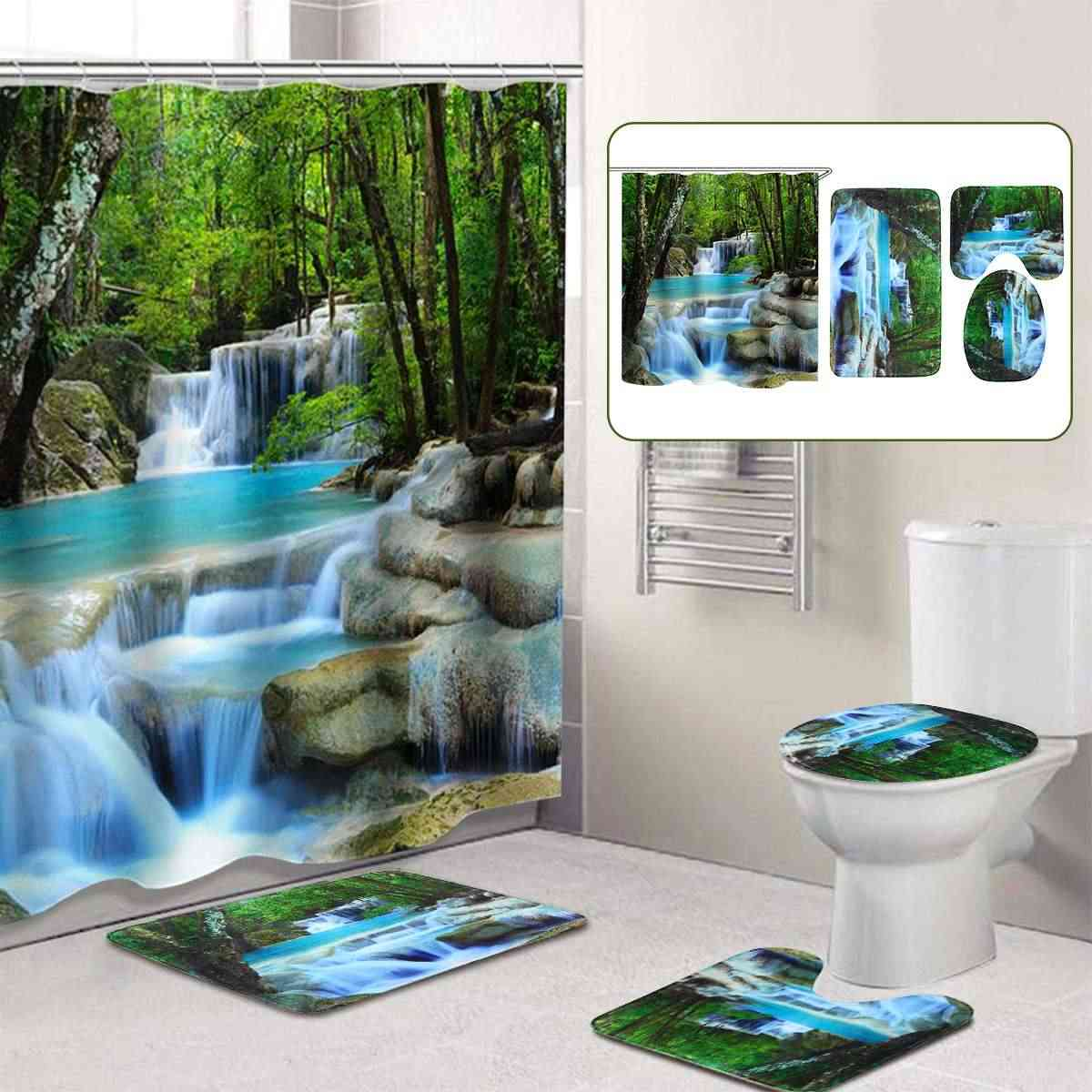 3D Waterfall Scenery Waterproof Shower Curtain Bathroom  Landscape Trees Flower Bath Mat Set Pedestal Rug Lid Toilet Cover