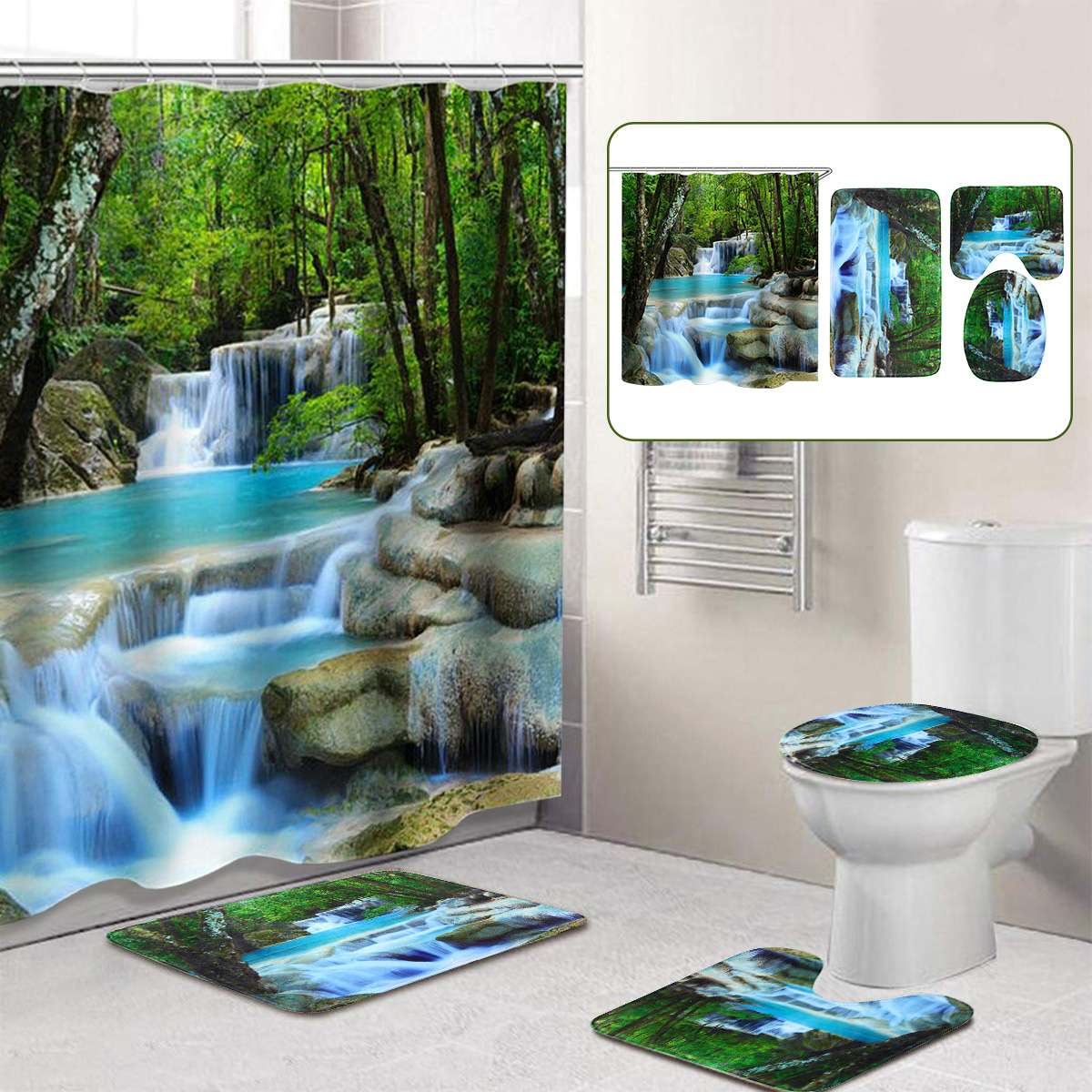 3D Waterfall Scenery Bathroom Curtain Set Made With Repellent Polyester Material For Bathroom Decorate