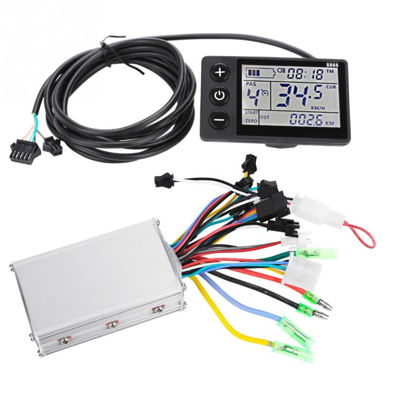 24V-48V 250W 36V-48V 350W Brushless Electric Bike Controller With LCD Display Bicycle Motor Scooter Controller