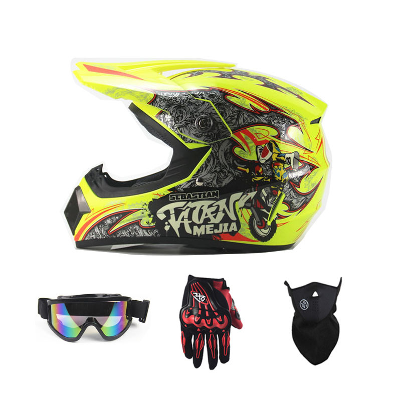 Motorcycle off-Road Helmet free gifts Gloves Goggles Face Mask Highway Racing Yellow Helmet Motocross Moto Protect Gear