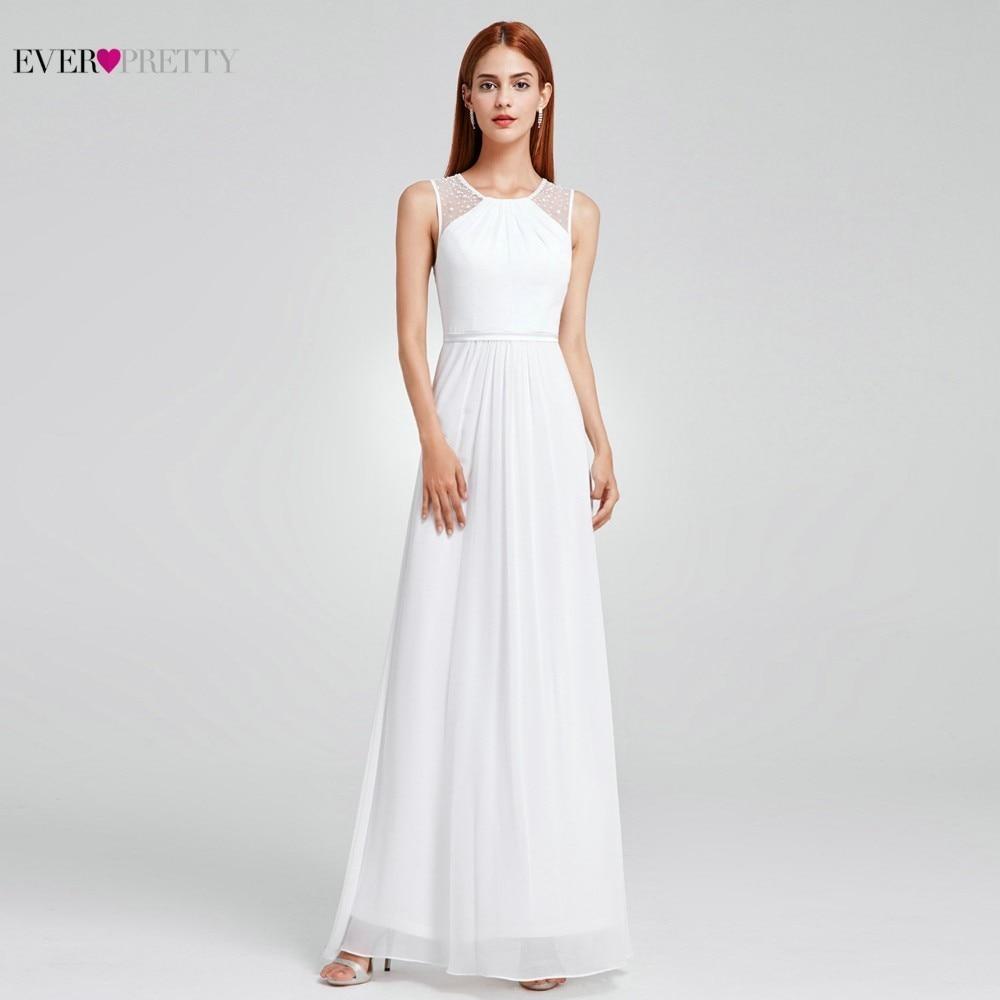 Boho Wedding Dress Ever Pretty EP08742 Sexy A line Beading Chiffon Sleeveless O neck Floor Length