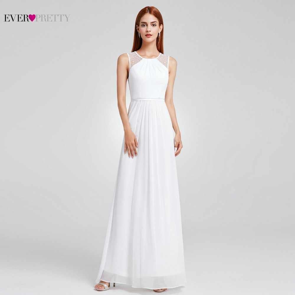 Vestido de Noiva Boho EP08742 Sempre Bonita Sexy A-line Beading Chiffon Sem Mangas O-pescoço Até O Chão Simples Praia Vestidos De Casamento