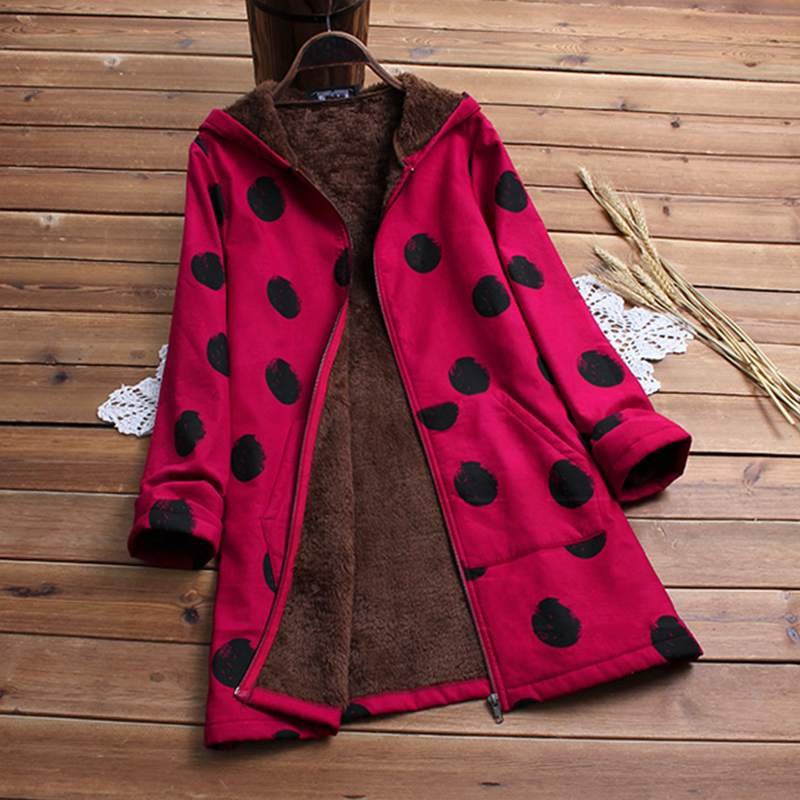 Plus Size Women Coats 2018 Winter Thicken Warm Hooded Long Sleeve Faux Fluffy Polka Dot Printed Pockets   Basic     Jackets   Outerwear