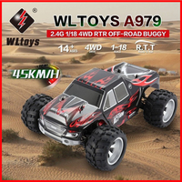 70km/h Upgraded WLtoys A979 B A979 4WD 1:18 RC Racing Car High Speed Monster Truck Transmitter Off Road VS A959 b Sports cars