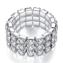 Cheap Shining Silver Combination DIY Women Rhinestone Stretch Finger Ring 1/2/3/4 Layers Zinc Alloy Jewelry Ring For Women цена 2017