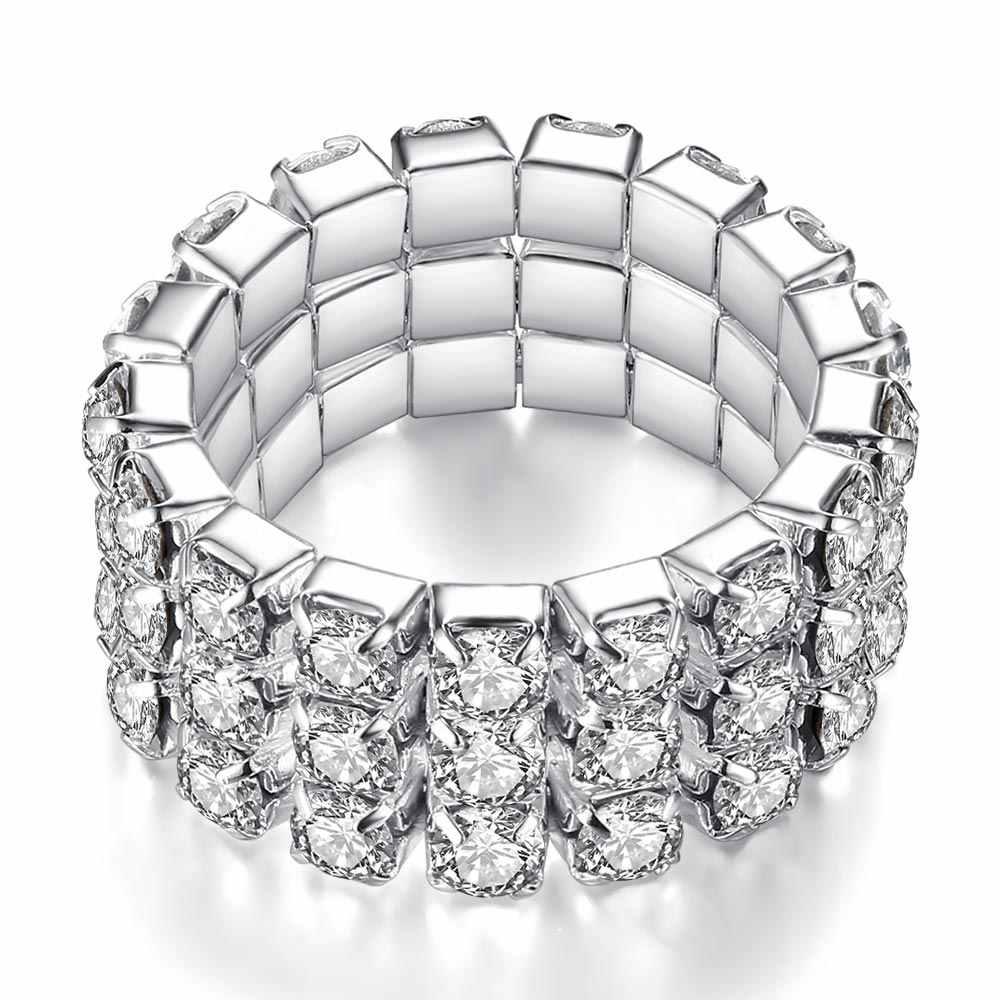 แหวน Zircon 1/2/3/4 ชั้นสังกะสีโลหะผสมเครื่องประดับแหวนหญิงรุ่นต่ำราคาเงินเงาชุดสุภาพสตรีแหวน Rhinestone