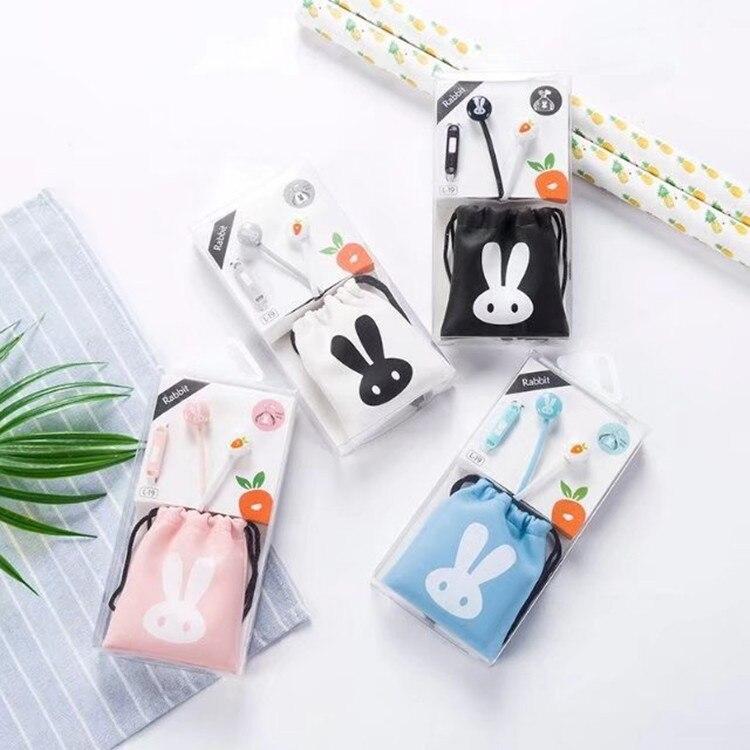 5 pièces/colis mignon lapin Style casque avec sac de rangement écouteurs écouteurs casque pour téléphone portable enfant cadeau joli emballage