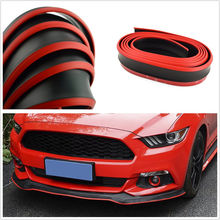 2.5M Car Bumper Front Lip Skirts Protector Rubber Scratch Soft Strip Black Red decoration