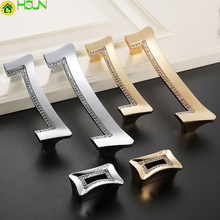 1 pc Luxury Gold Czech Crystal  Cabinet Door Knobs and Handles Furnitures Cupboard Wardrobe Drawer Pull Z-1834