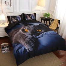 Animal 3D Bedding Set Luxury Europe and America New Design Bedding Set Soft Cat Printing Duvet Pillowcase Bed Set Home Textiles(China)