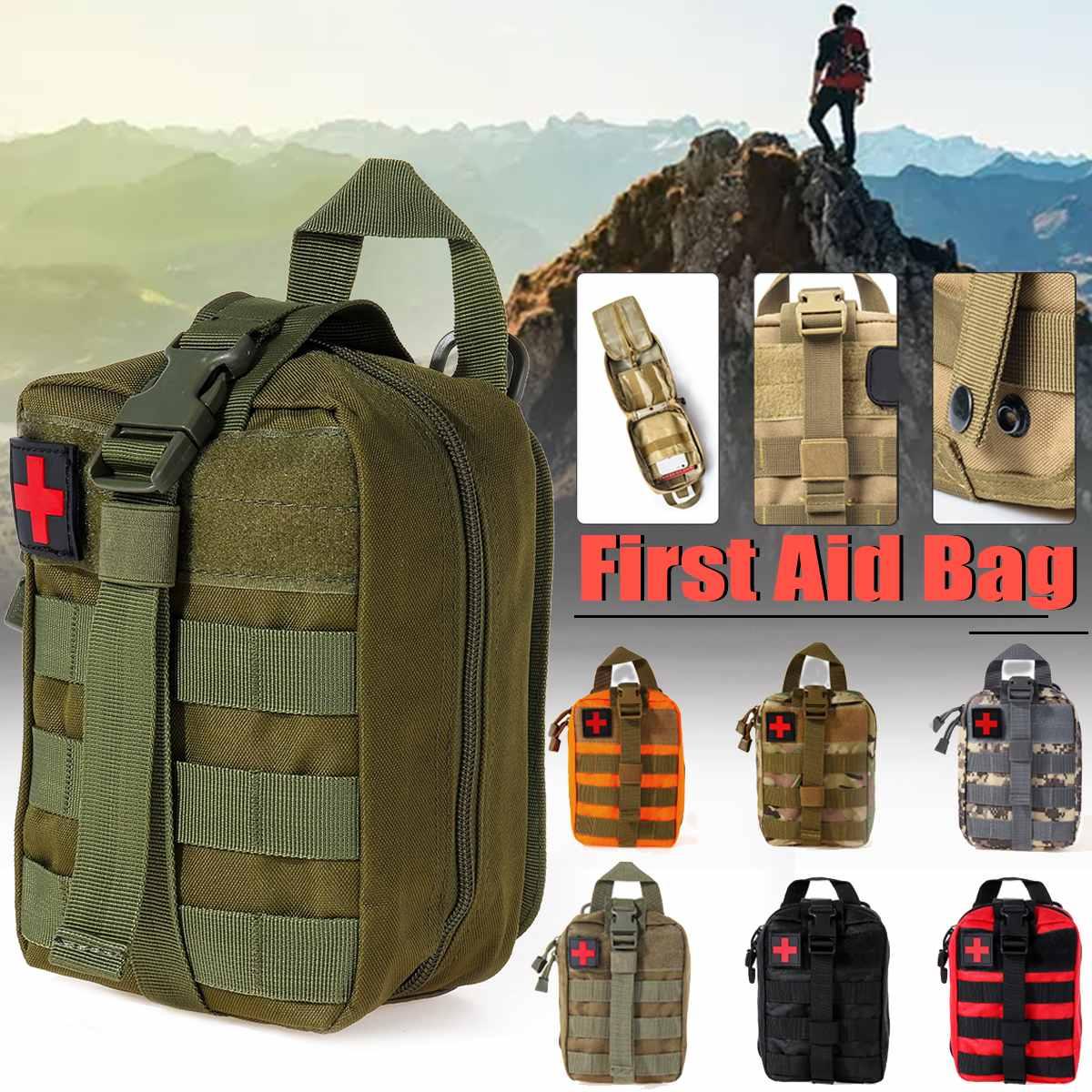 Primeiros Socorros Saco de Acampamento Tático Malote Médico EMT Caixa Tamanho Grande 600D Caça Kit de Sobrevivência de Emergência Ao Ar Livre Pacote de Saco de Nylon