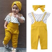 Ropa para niños y bebés con hombros descubiertos con volantes Tops + pantalón de tirantes largo + ropa de diadema para bebé niña verano conjunto de ropa