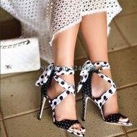 Peep Toe Polka Dot Ankle Strap Thin High Heel Sandals Sweet Black White Stiletto Heel Women Sandals Summer Leather Women Shoes
