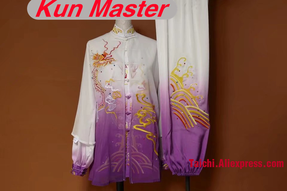 Custom Tai Chi Performance Uniform Embroidery  Man Martial Art Clothing For Kung Fu